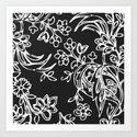 White Floral on Black Pattern Print  Art Print