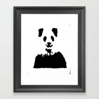 Pandas Blend into White Backgrounds Framed Art Print
