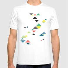Triangles Mens Fitted Tee SMALL White
