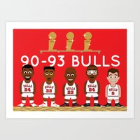 3-Peat Bulls Art Print