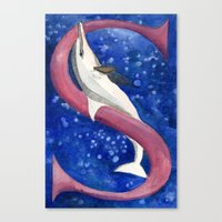 S is for Spinner Dolphin Canvas Print