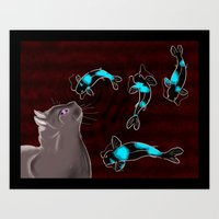 Art Print featuring Koi and Cat by Eric Weiand