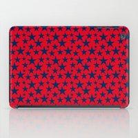Blue stars on bold red background illustration. iPad Case