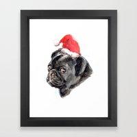 Xmas Pug Framed Art Print