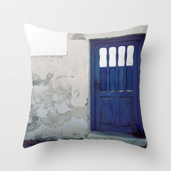 Santorini Door IV Throw Pillow