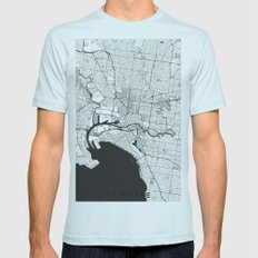 Melbourne City Map Gray Mens Fitted Tee Light Blue SMALL