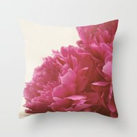 Pretty Pink Peonies Throw Pillow