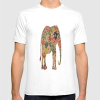Flower Power Elephant Mens Fitted Tee White SMALL