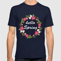 HELLO SPRING Mens Fitted Tee Navy SMALL