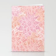 Pink Pastel Flowers Stationery Cards