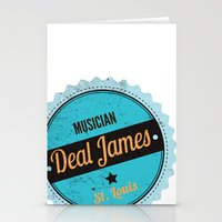 Deal James, Round Sticker Blue Stationery Cards