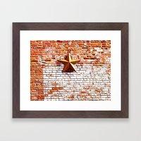 Gold Star on Brick Framed Art Print