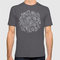 Jacobean Inspired Light on Dark Grey Floral Doodle Mens Fitted Tee Asphalt SMALL