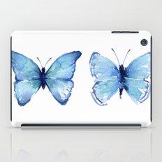 Two Blue Butterflies Watercolor iPad Case