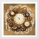 Steampunk Vintage Style Clocks and Gears Art Print