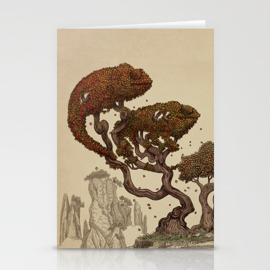 Autumn Chameleons  Stationery Card