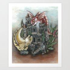 INKYFISH - Fish Tank Hide and Seek Art Print