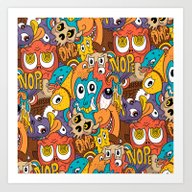 Weird Guys Pattern Art Print