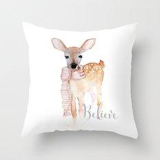 Believe- Christmas fawn Throw Pillow