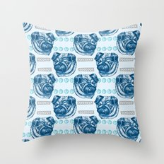 Pug Love Pattern In Blue Throw Pillow