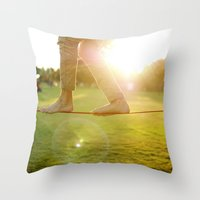 Slacklining  Throw Pillow
