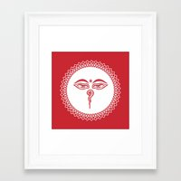 Framed Art Print featuring Swayambhu Eyes by Dambar Thapa