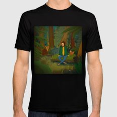 Chilling in the Woods SMALL Black Mens Fitted Tee