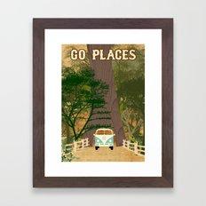 Go Places Redwoods and Camper Collage Poster Print  Framed Art Print