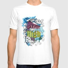 Music Makes Me High White Mens Fitted Tee SMALL