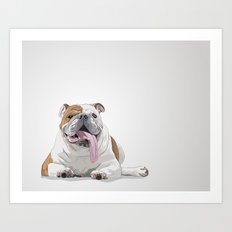 Bulldog with a Big Tongue Illustration Art Print