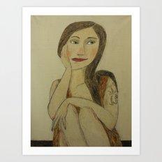 Girl with Dragon Tatu Art Print