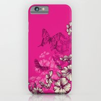 Vintage butterfly wallpaper- magenta iPhone 6 Slim Case