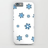 iPhone & iPod Case featuring Snowflakes (Blue & Black on White) by Paul James Farr