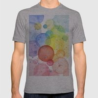 Watercolor Abstract Rainbow Circles and Splatters Mens Fitted Tee Athletic Grey SMALL