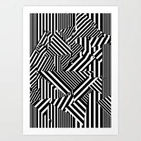 Dazzle Camo #01 - Black … Art Print