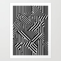 Dazzle Camo #01 - Black & White Art Print