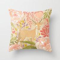 Garden Deer Throw Pillow