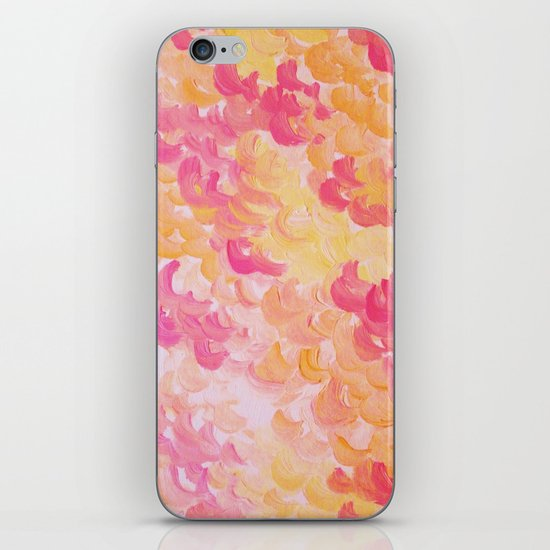 PINK PLUMES - Soft Pastel Wispy Pretty Peach Melon Clouds Strawberry Pink Abstract Acrylic Painting  iPhone & iPod Skin