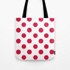 Polka Dots (Crimson/White) Tote Bag