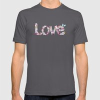 SPRING FLORAL LOVE Mens Fitted Tee Asphalt SMALL