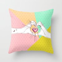 Heart Hands [Vintage Candy Edition] Throw Pillow