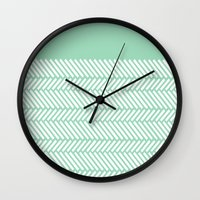 Herringbone Mint Boarder Wall Clock