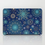 Blue Gold Snowflakes  iPad Case