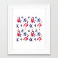 Beach Flamingos Framed Art Print