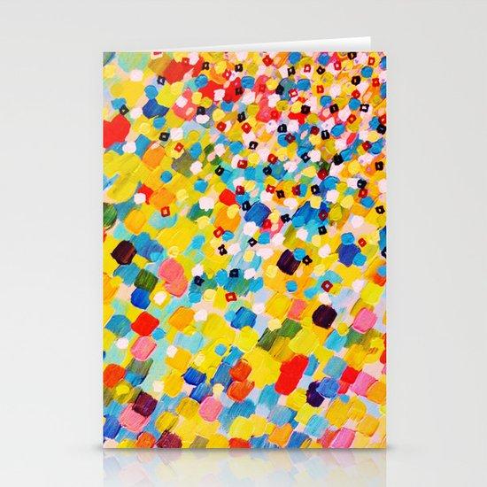SWEPT AWAY 2 - Vibrant Colorful Rainbow Mango Yellow Waves Mermaid Splash Abstract Acrylic Painting Stationery Card