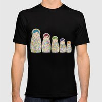 Rainbow Matryoshka Nesting Dolls Mens Fitted Tee Black SMALL