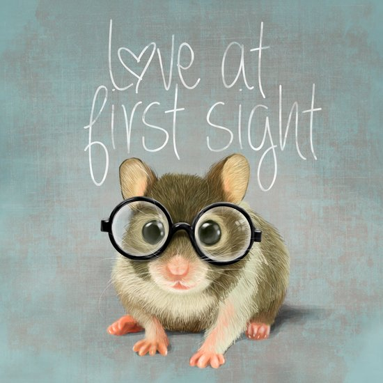 A small mouse with glasses on light blue-grey background Art Print