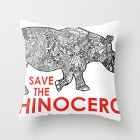 Save The Rhino Throw Pillow