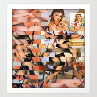 Glitch Pin-Up Redux: Whi… Art Print