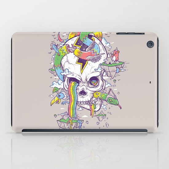 Flying Rainbow skull Island iPad Case
